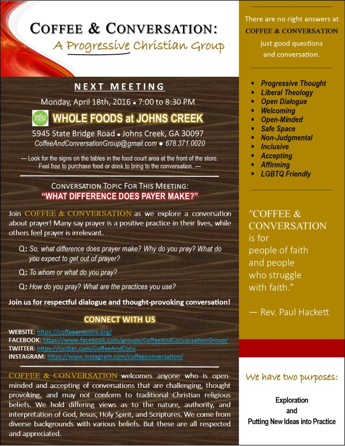 Coffee & Conversation - Meeting Announcement - 20160418